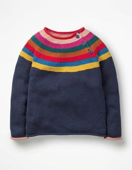 Rainbow Sparkle Stripe Colourful Knitted Jumper