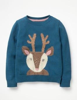 Drummer Blue Reindeer Knitted Character Sweater