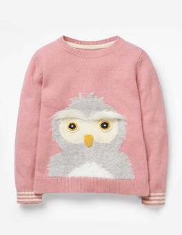 Vintage Pink Owl Knitted Character Sweater