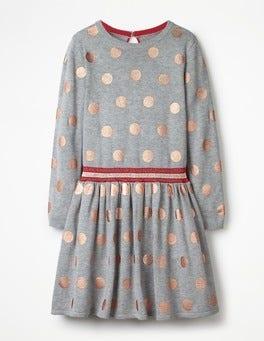 Grey Marl Foil Spots Foil Spot Knitted Dress