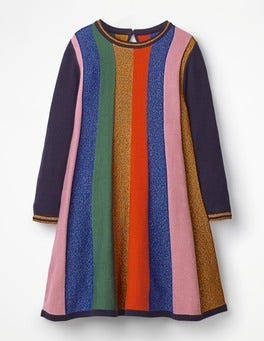 Rainbow Stripe Sparkle Stripe Knitted Dress