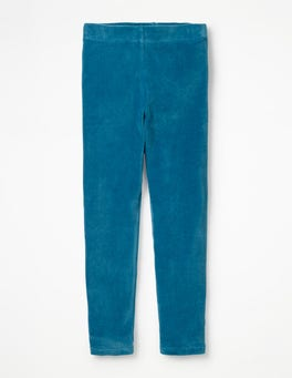 Blau Samt-Leggings
