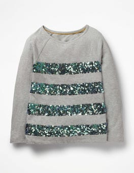 Grey Marl Sequin Stripe T-shirt