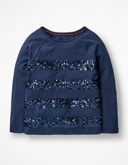 School Navy Sequin Stripe T-shirt