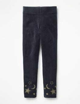 Whale Grey Moon & Stars Embellished Velvet Leggings