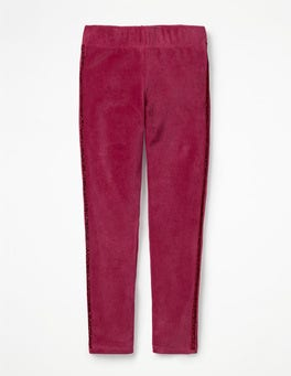 Bramble Red Embellished Velvet Leggings