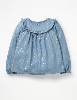 Boathouse Blue Pretty Ruffle Top