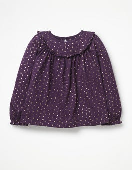 Winter Purple Pretty Ruffle Top