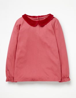 Rosette Pink Velvet Collar Detailed Collar Top