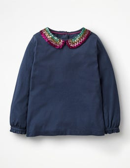 Navy Sequin Collar Detailed Collar Top