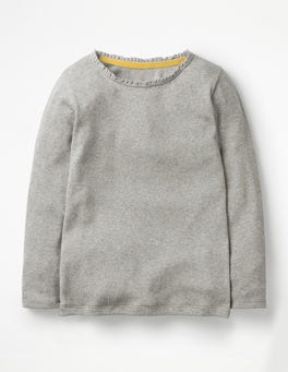 Grey Marl Pretty Rib T-shirt