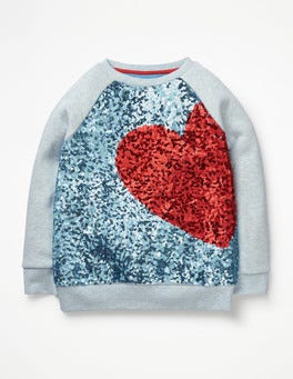 Delphinium Blue Heart Sequin Raglan Sweatshirt