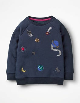 Navy Space Sequin Raglan Sweatshirt