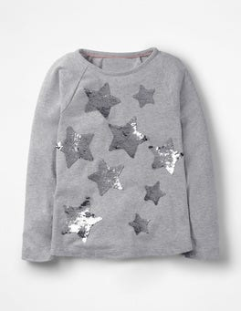 Grey Marl Sequin Star Raglan T-shirt