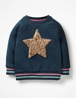 Navy Star Fluffy Graphic Sweatshirt