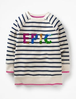 Ecru/School Navy Epic Sparkly Sweatshirt