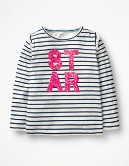 Ecru/School Navy Star Party Graphic T-shirt