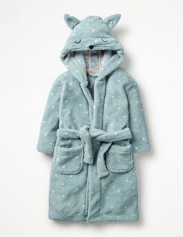 Ice Blue Spot Cat Novelty Dressing Gown