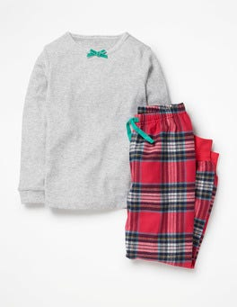 Poppy Red/Blue Check Woven Pyjama Set