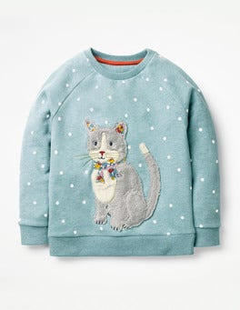 Delphinium Blue Cat Fluffy Friends Sweatshirt