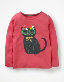 Rosette Pink Cat Festive Animals T-shirt