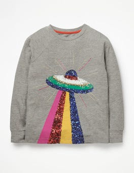 Grey Marl Space Ship Sequin Appliqué T-shirt