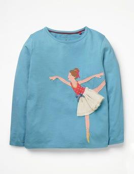 Delphinium Blue Ballerina Big Appliqué T-shirt