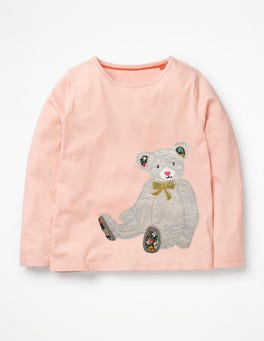 Provence Dusty Pink Teddy Bear Big Appliqué T-shirt
