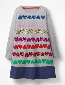 Grey Marl Hearts Sequin Hearts Jersey Dress