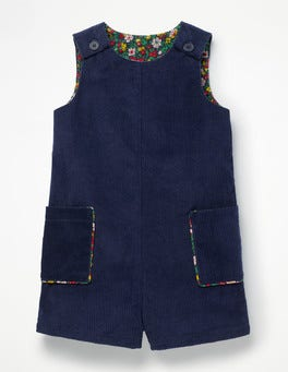 School Navy Chunky Cord Playsuit