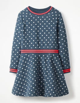 Navy Marl Ecru Spots Cosy Jersey Swing Dress