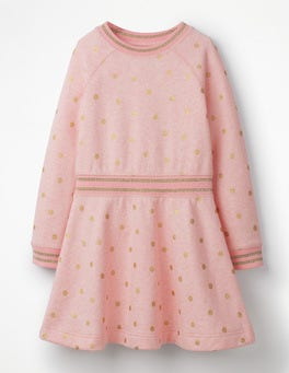 Powder Pink Gold Foil Spots Cosy Jersey Swing Dress