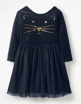 Midnight Blue Cat Velvet Novelty Dress