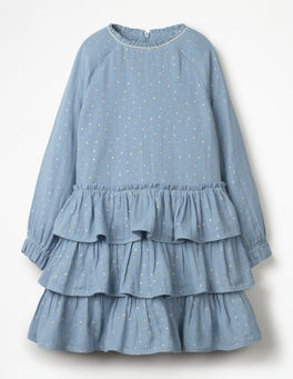 Boathouse Blue Ruffle Tiered Dress