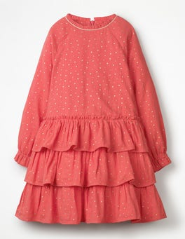 Rosette Pink Ruffle Tiered Dress