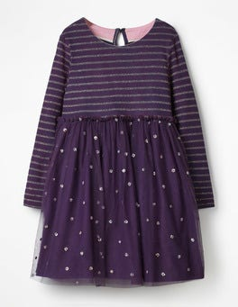 Winter Purple Sparkly Spot Party Dress