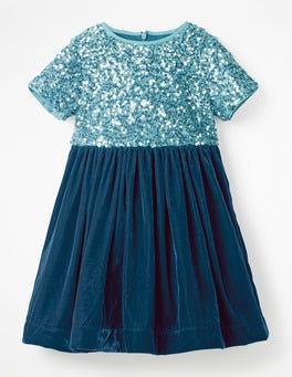 Drummer Blue Velvet Sequin Party Dress