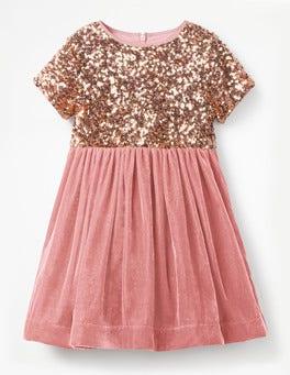 Vintage Pink Velvet Sequin Party Dress
