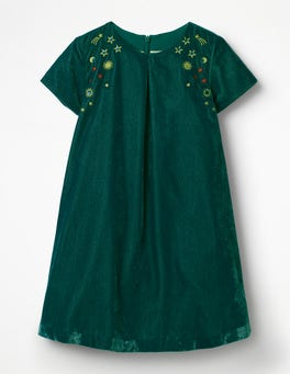Drake Green Velvet Space Embroidered Dress