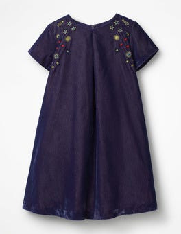 Winter Purple Velvet Space Embroidered Dress