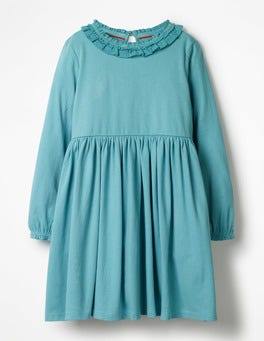 Aquamarine Blue Supersoft Jersey Ruffle Dress