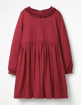 Bramble Red Supersoft Jersey Ruffle Dress
