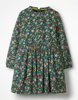 School Navy Vintage Bloom Printed Frill Neck Dress