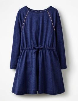 School Navy Tie-waist Jersey Swing Dress