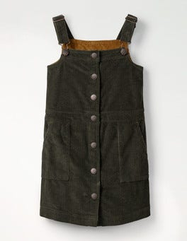 Army Green Jumbo Cord Pinafore Dress