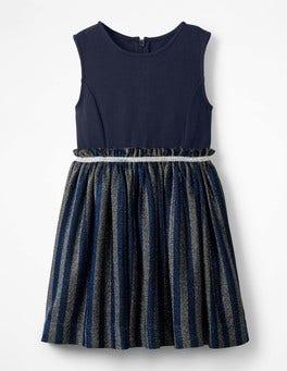 Cobalt Blue Lurex Stripe Party Dress
