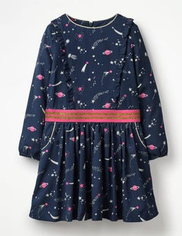School Navy Galaxy Woven Frill Space Dress