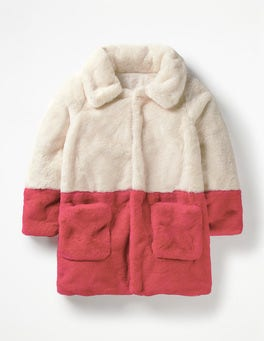 Ecru Colourblock Party Coat