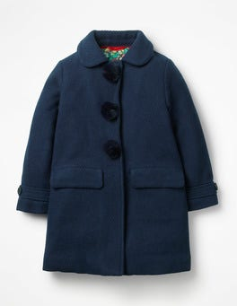 Navy Herringbone Pom-Poms Wonderful Wool Coat