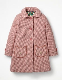Pink Herringbone Cats Wonderful Wool Coat